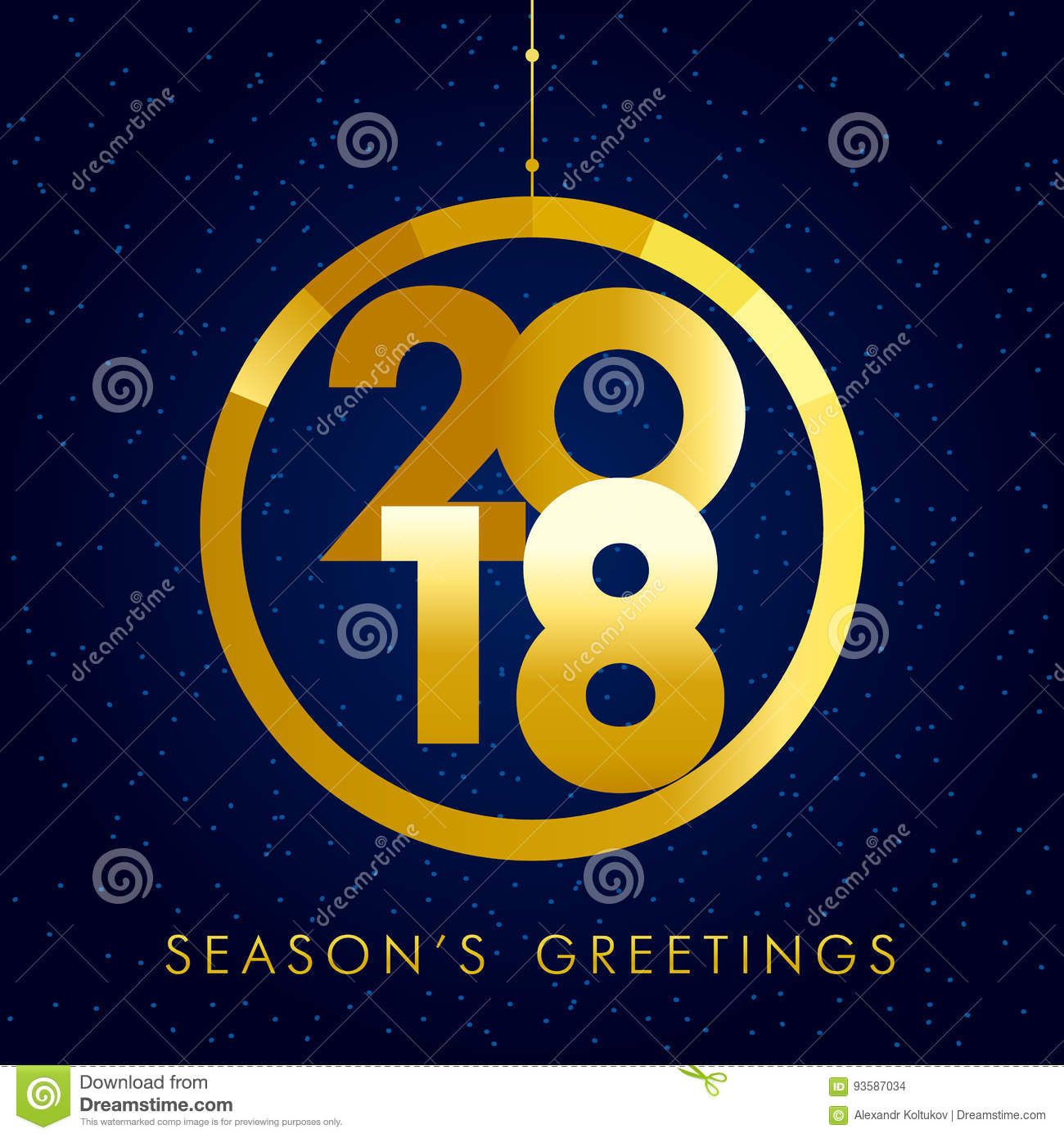 2018 seasons greetings gold happy new year card