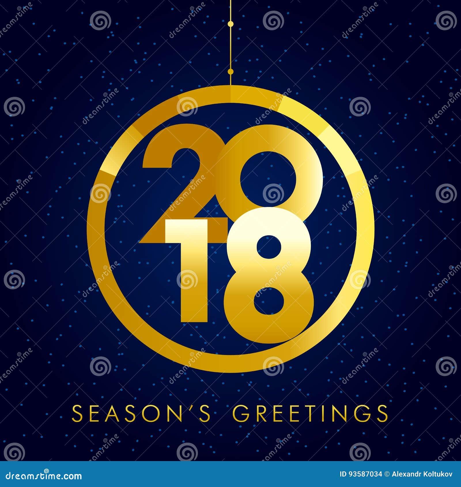 2018 Seasons Greetings Gold Happy New Year Card Stock Vector