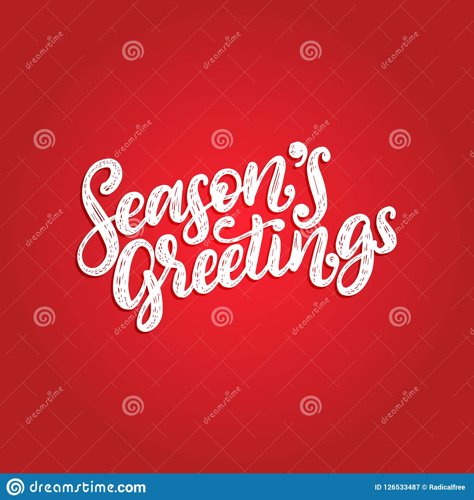 Seasons Greetings, Hand Lettering On Red Background. Vector ...