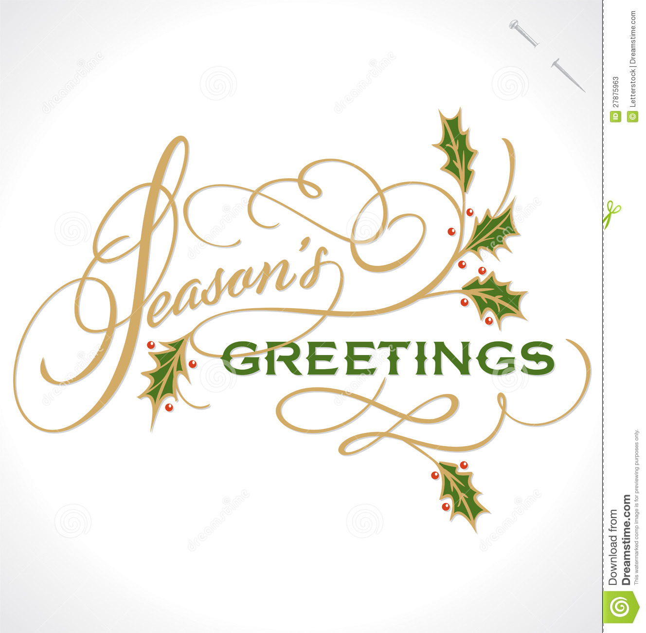 seasons greetings hand lettering vector stock vector