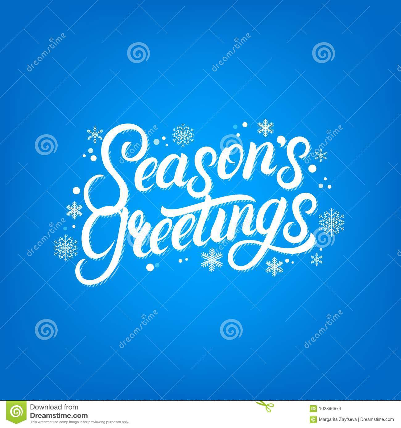 Seasons greetings hand written lettering design stock vector seasons greetings hand written lettering with falling snow and snowflakes christmas inspirational calligraphy quote blue background vector illustration m4hsunfo