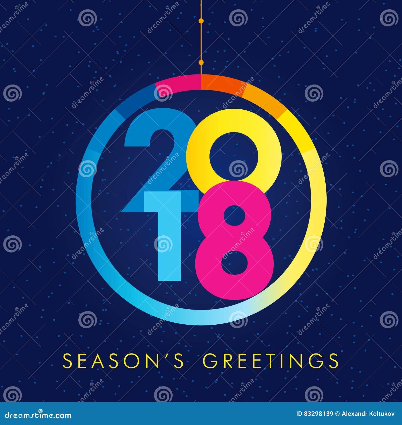 2018 Seasons Greetings Happy New Year Card Stock Vector