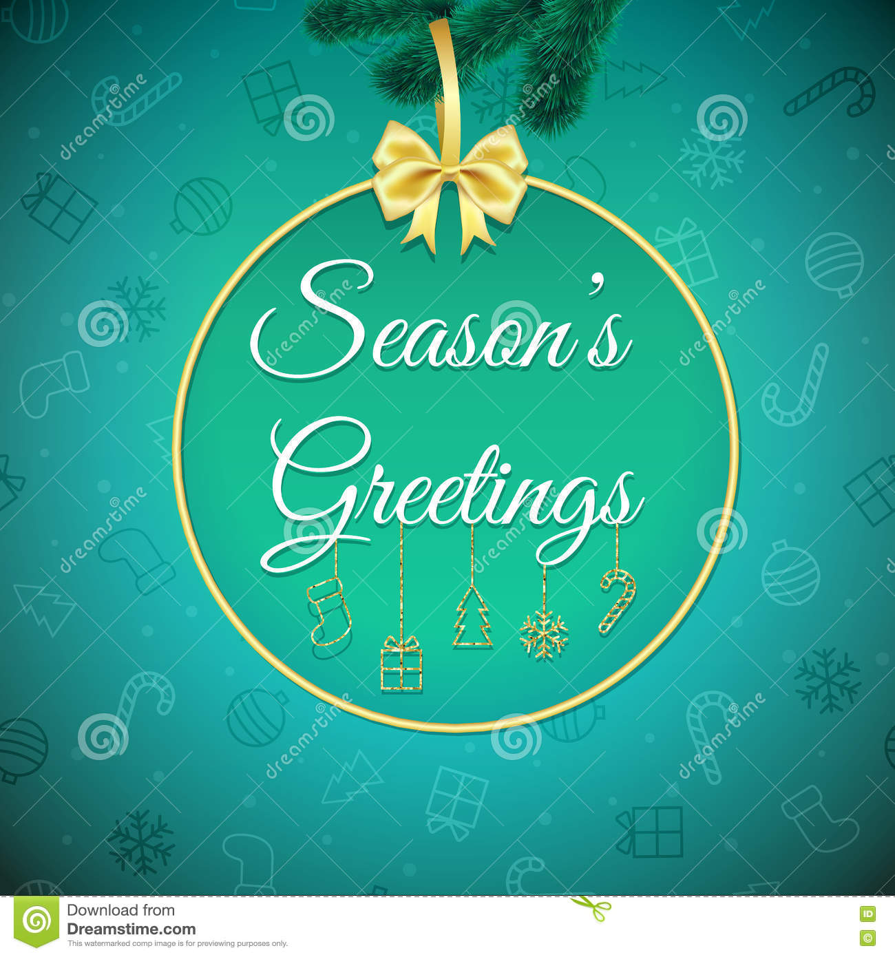 Seasons Greetings. Holiday Background. Xmas Greeting Card With ...