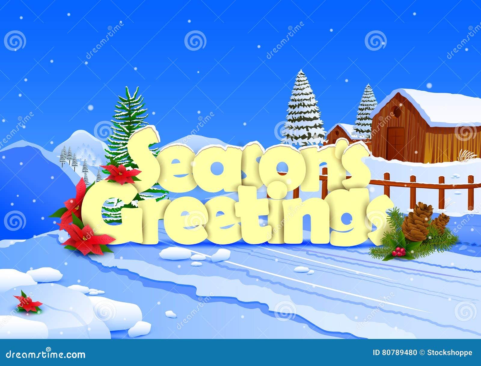 Seasons Greetings Wallpaper Background Stock Vector Illustration