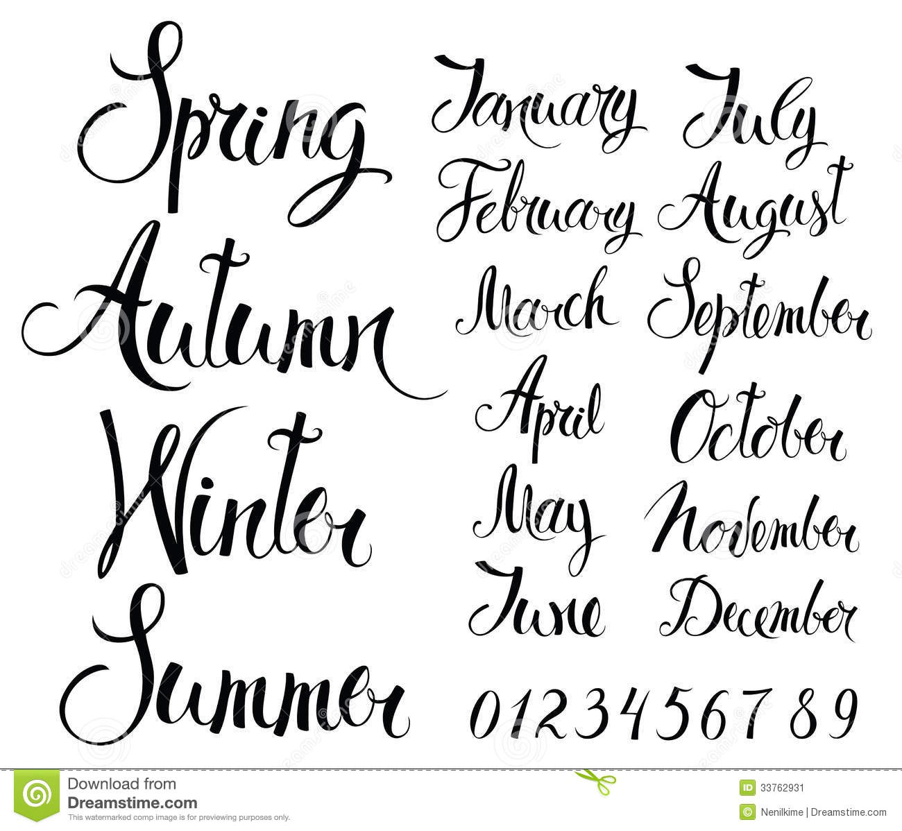 Seasons Months And Numbers Stock Image Image 33762931