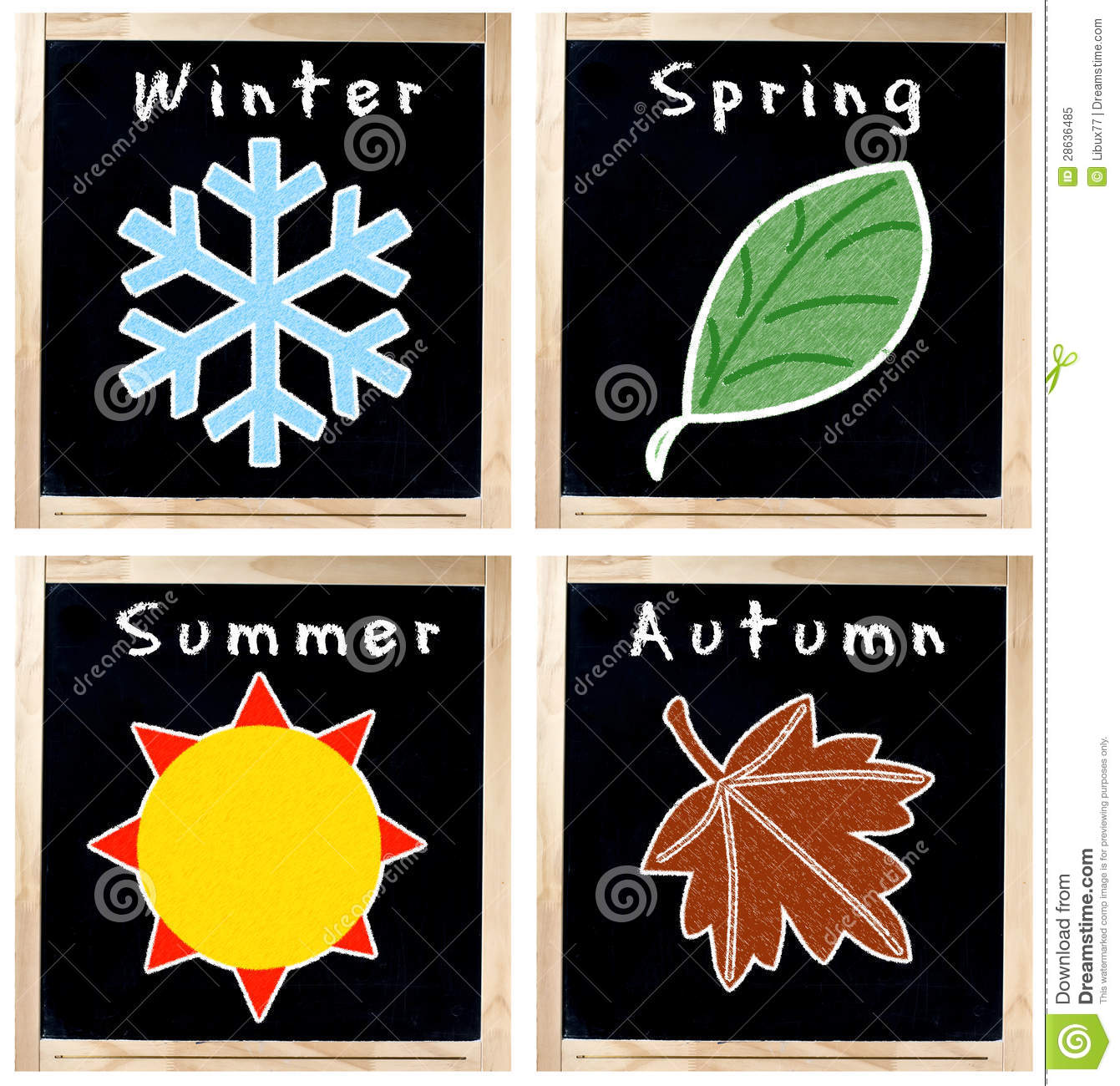 Season symbol on each chalkboard with wood frame isolated over white ...