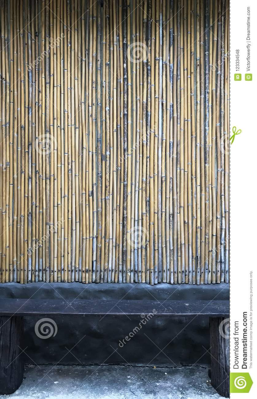 Seat with bamboo wood material pattern background. Interior design concept good for backdrop, wallpaper