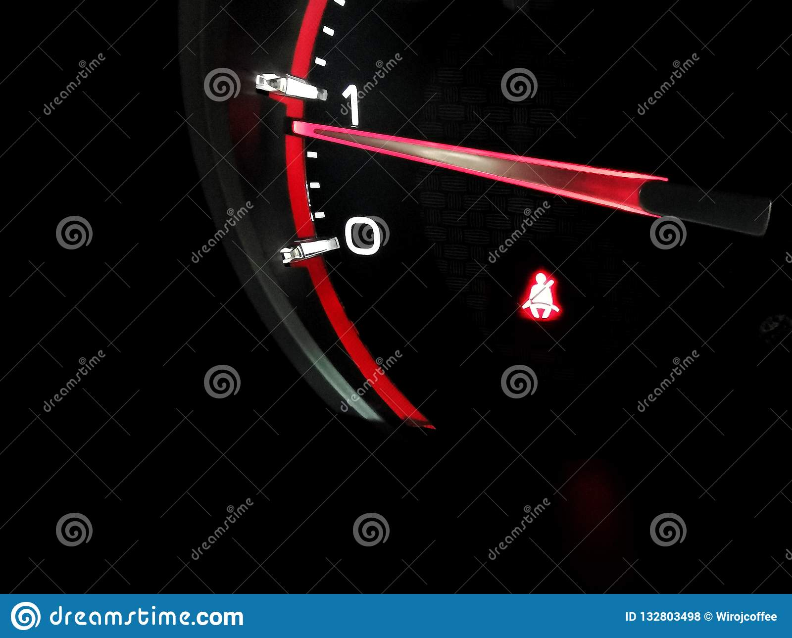 Seat Belts Light Icon On Car Dashboard Of Truck Car