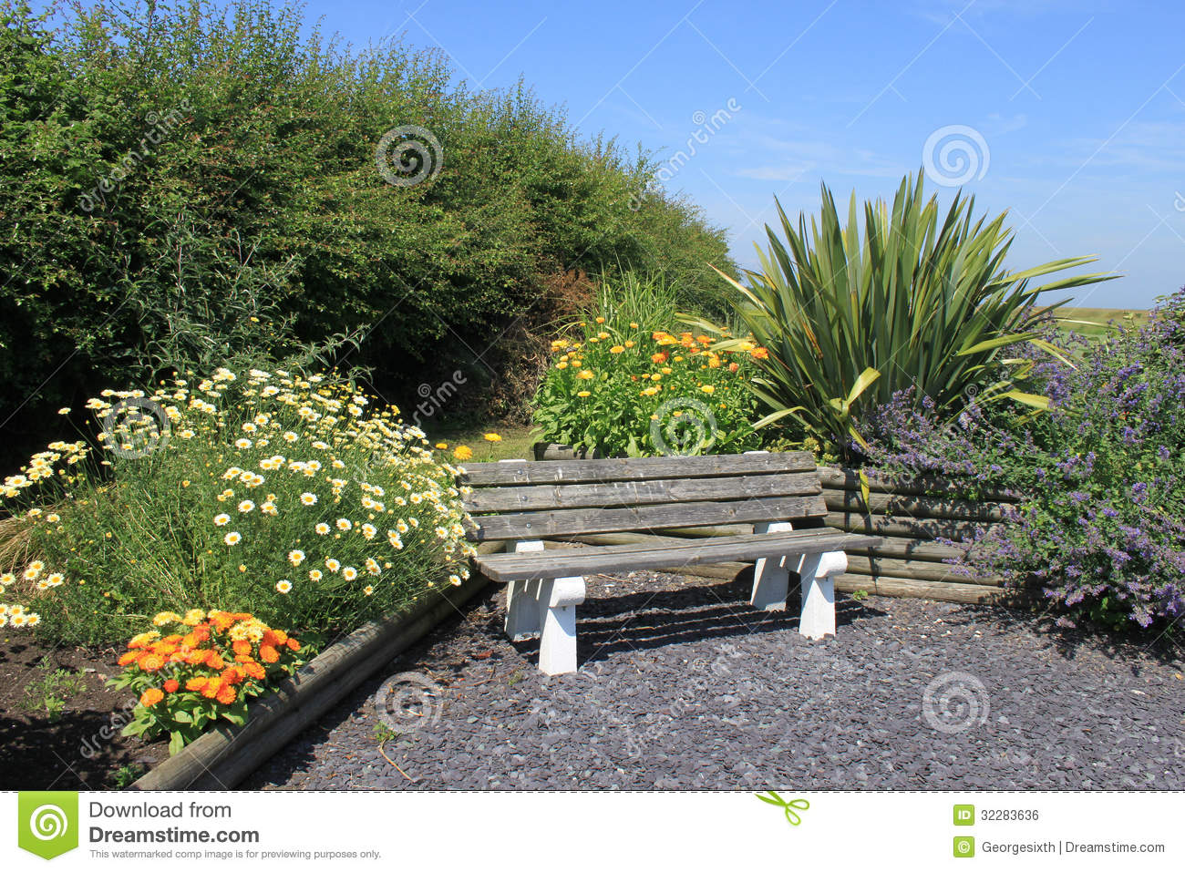 Seat In A Sensory Garden With Flowers And Plants Royalty