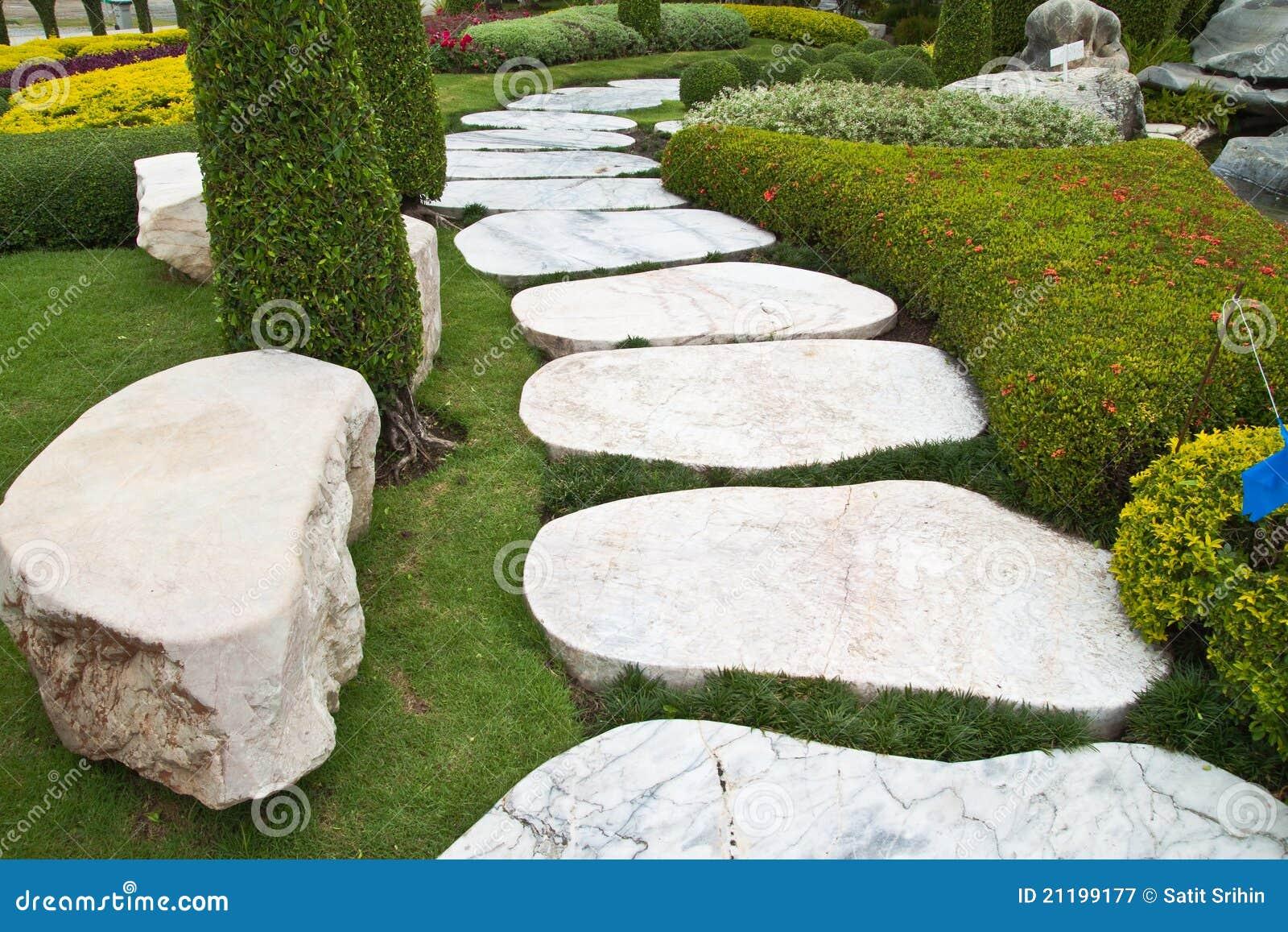 Seat and stone walkway