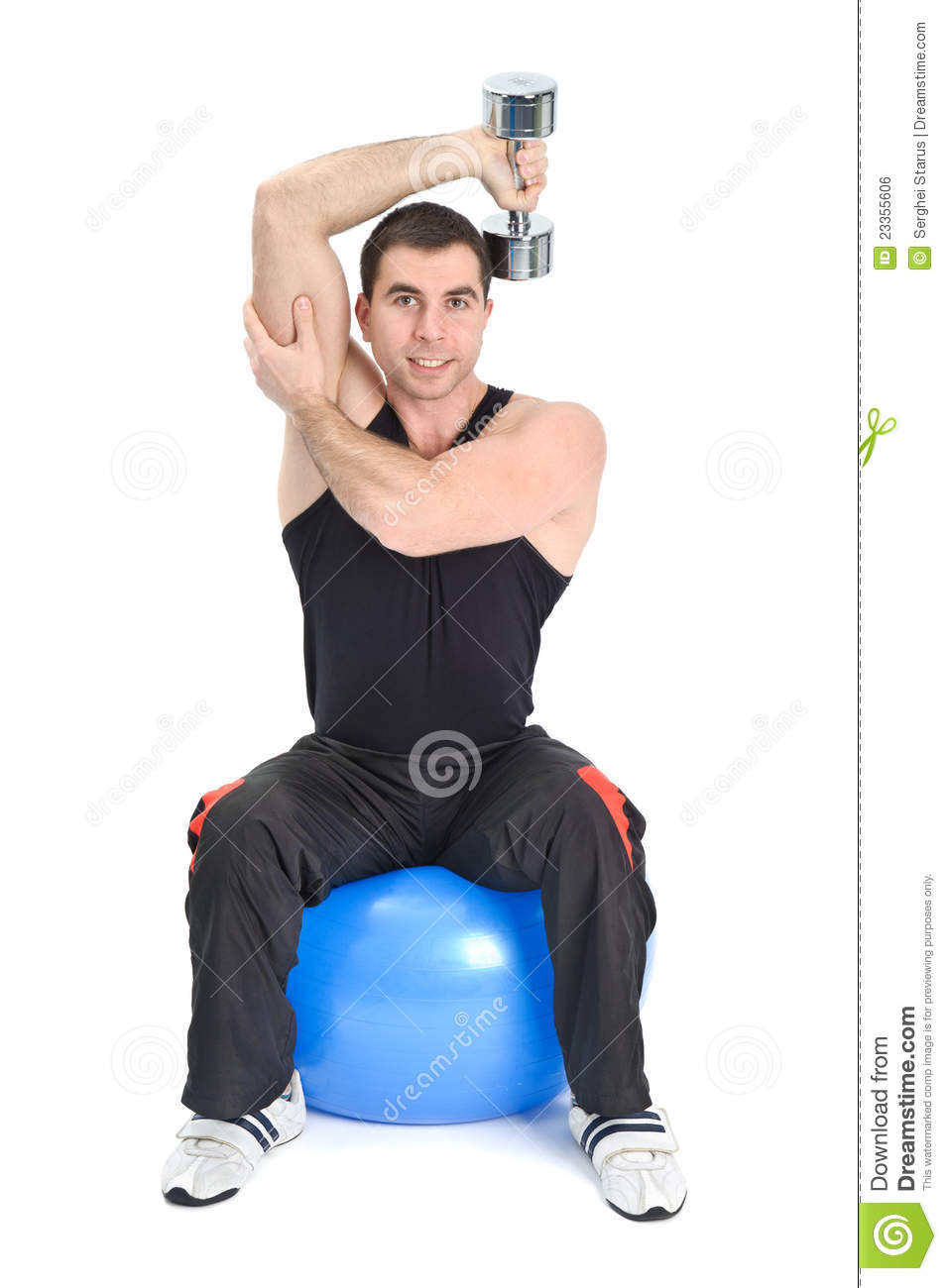 Seated Dumbbell One Arm Triceps Extensions Stock Photo ...