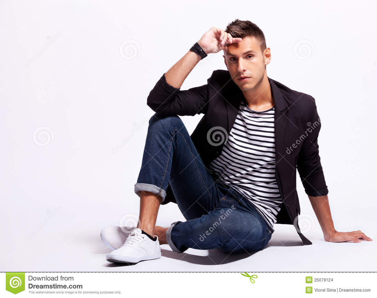 Seated Fashion Male Model Stock Images Image 25079124