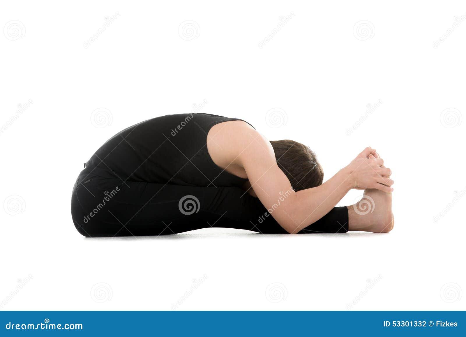 Seated Forward Bend Yoga Pose Stock Photo Image Of