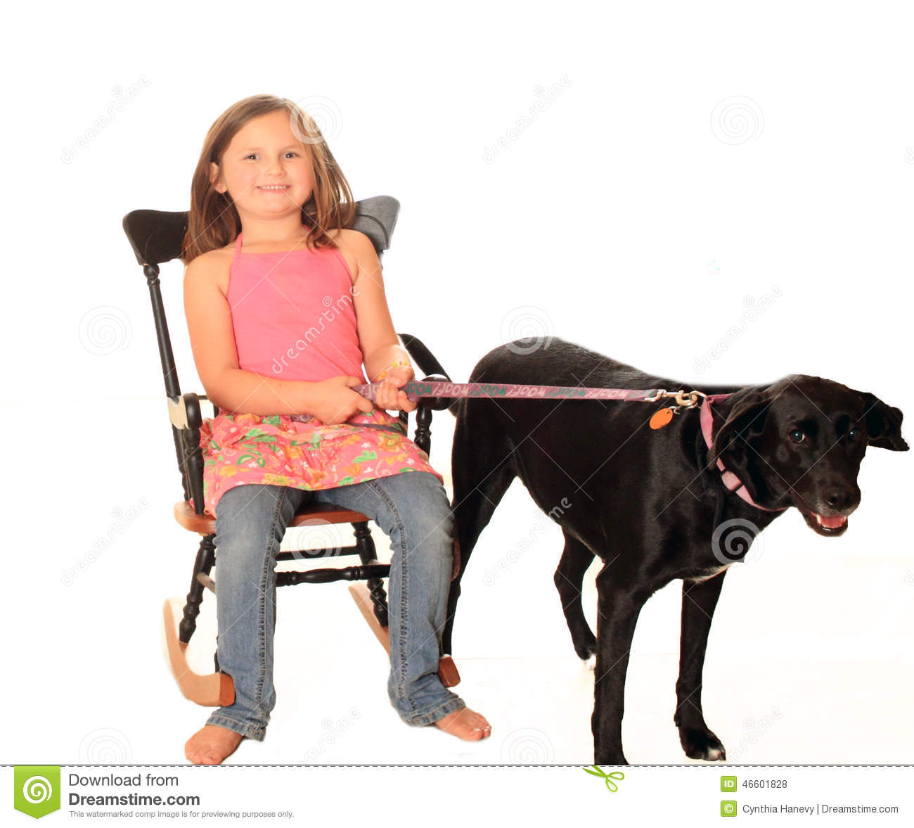 Young black girl dog leash