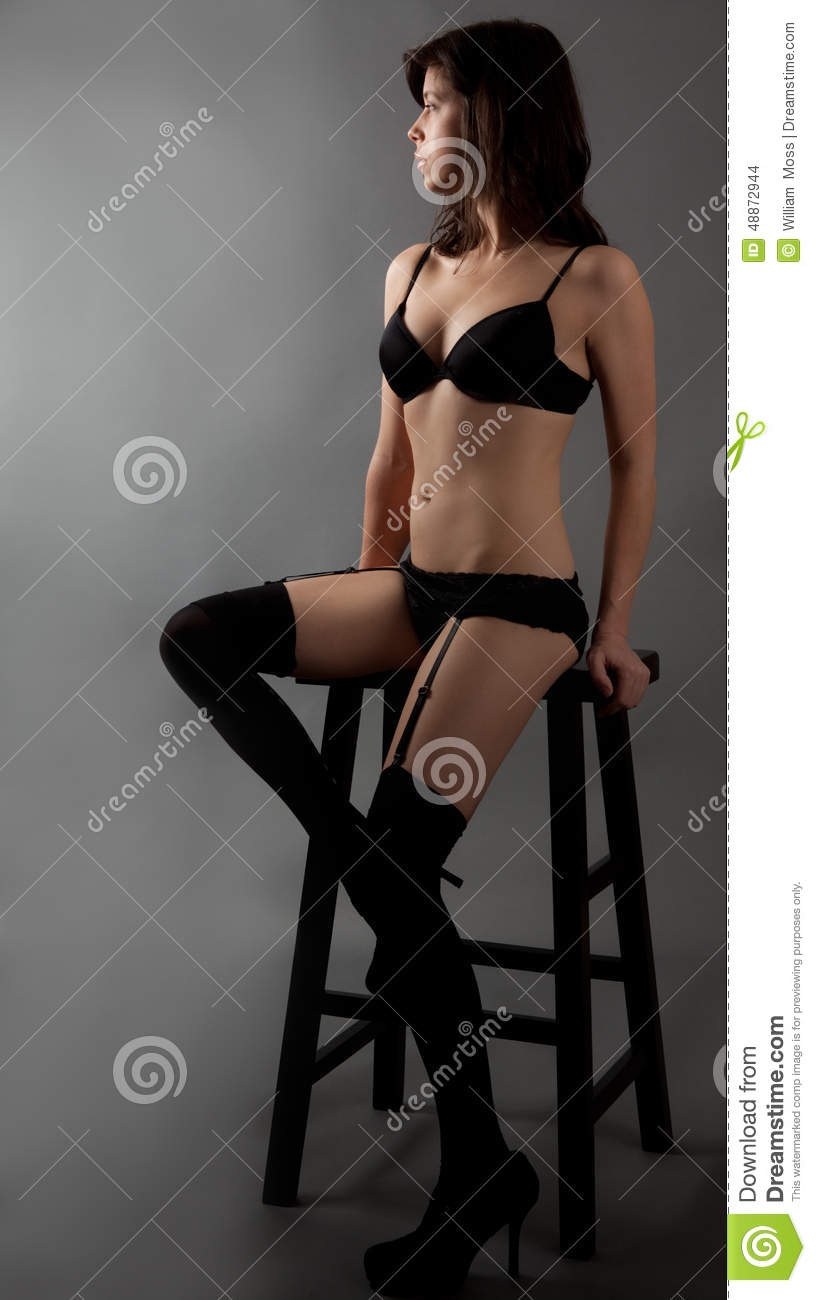 e6b45d1b2b5 Seated Woman in Lingerie stock photo. Image of thin