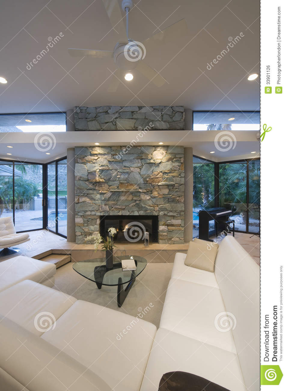 Seating Area And Stone Fireplace Stock Photo Image 33901126