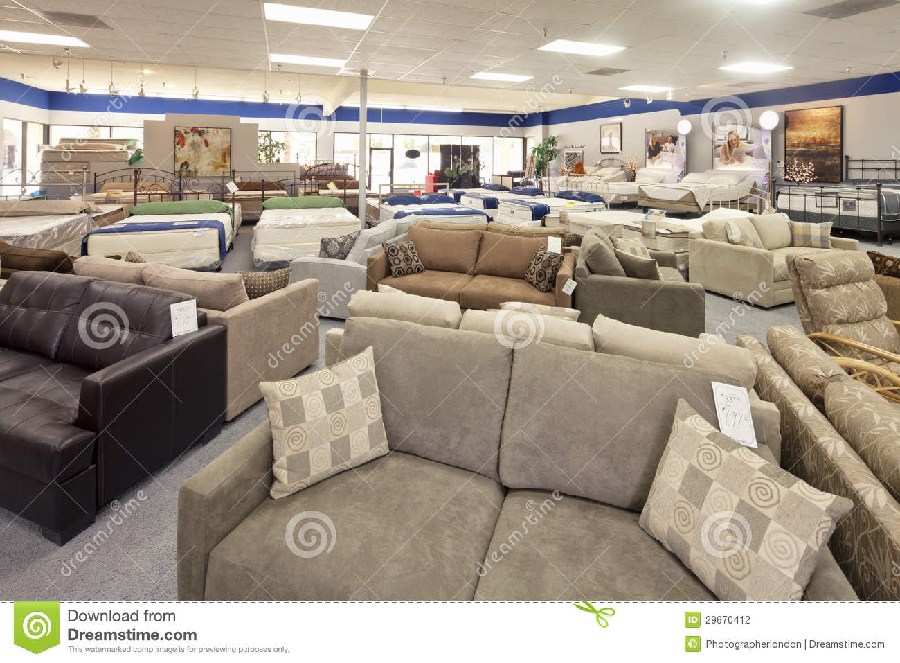 furniture displayed in a clothes shop close up low angle royalty free stock photo. Black Bedroom Furniture Sets. Home Design Ideas