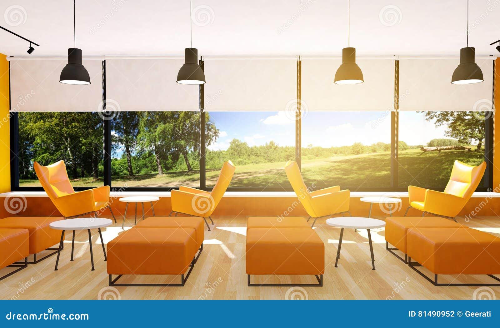 Seating in modern restaurant interior