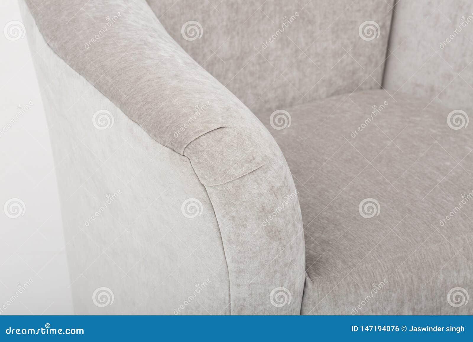 Seats cozy leather sofa, 2 seater modern sofa in light grey fabric, 2-Seat Sofa, Feather Cushion Sofa, - Image