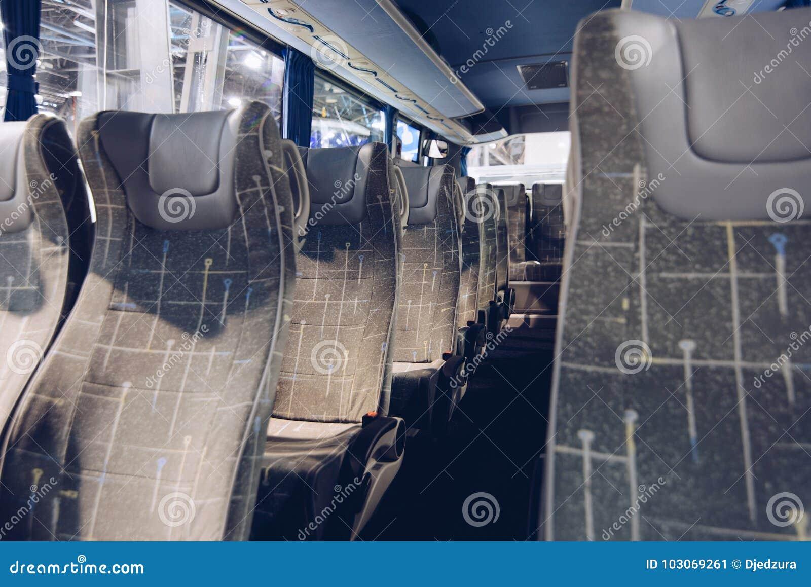 Seats in modern coach bus.