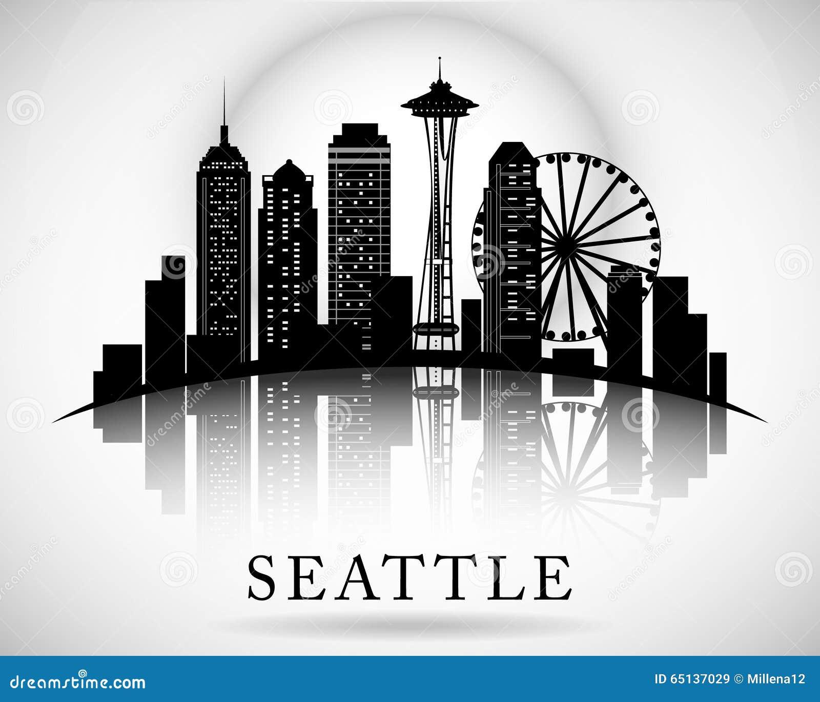 seattle city skyline vector city silhouette stock vector Seattle Skyline Outline Seattle Skyline Stencil