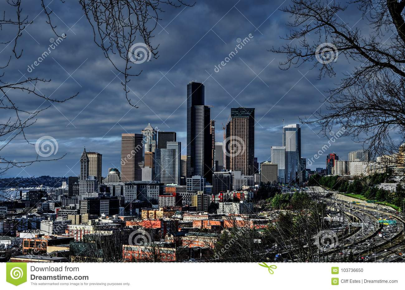 Seattle On Cloudy Day From Dr  Jose Rizal Park Stock Photo