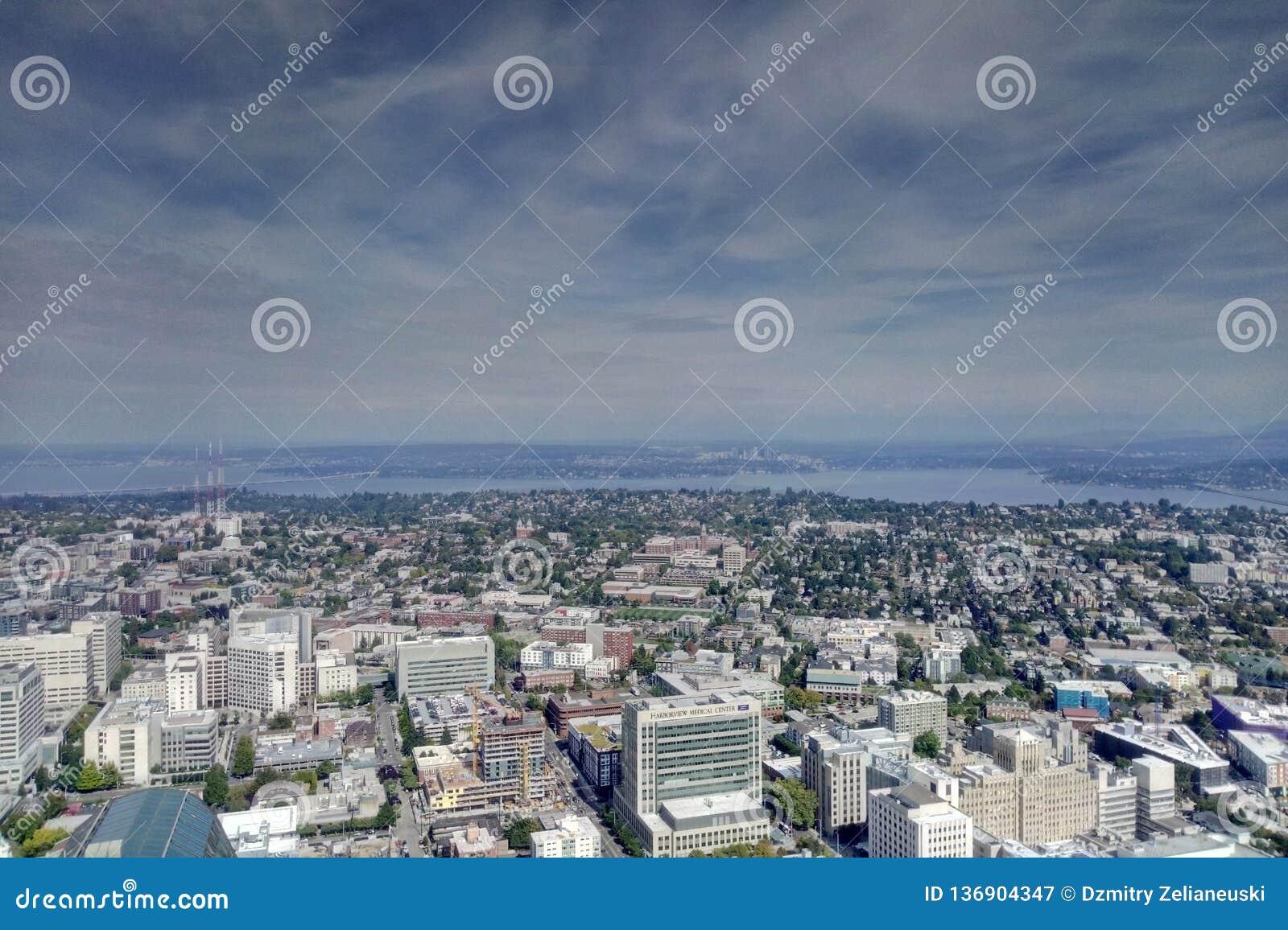 Seattle, Etats-Unis - 2 septembre 2018 : Vue de Seattle, Washington d en haut