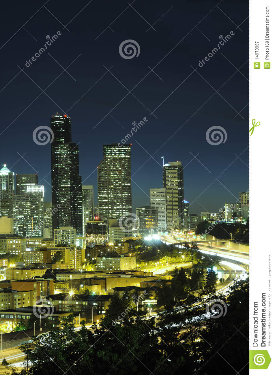 seattle highrise and highway royalty free stock