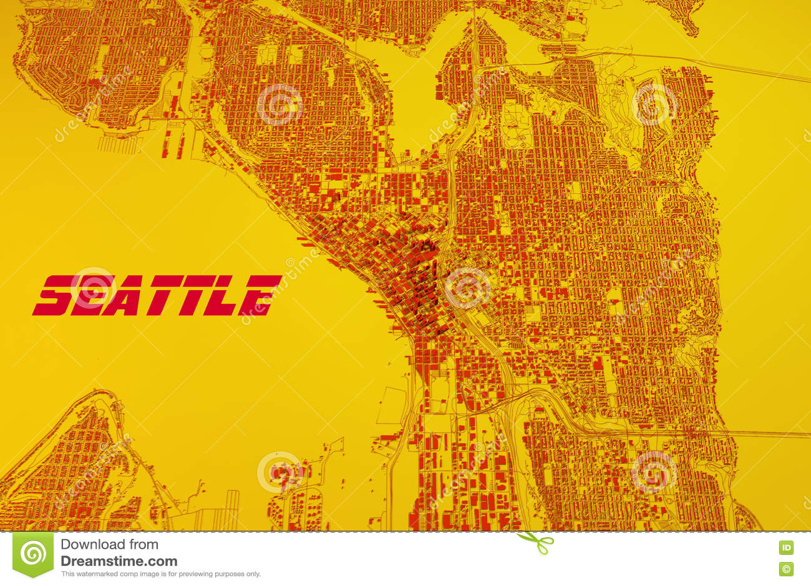 Seattle Map Satellite View United States Stock Illustration