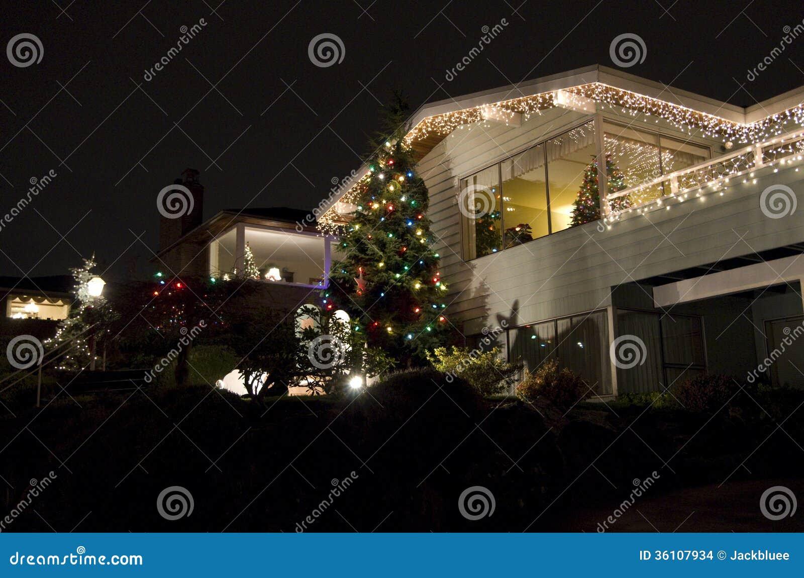Seattle neighborhood Christmas lights house