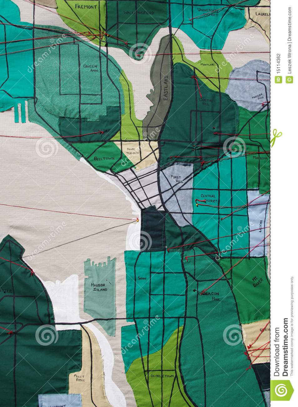 Seattle Neighborhoods Map Made From Fabric Stock Photography