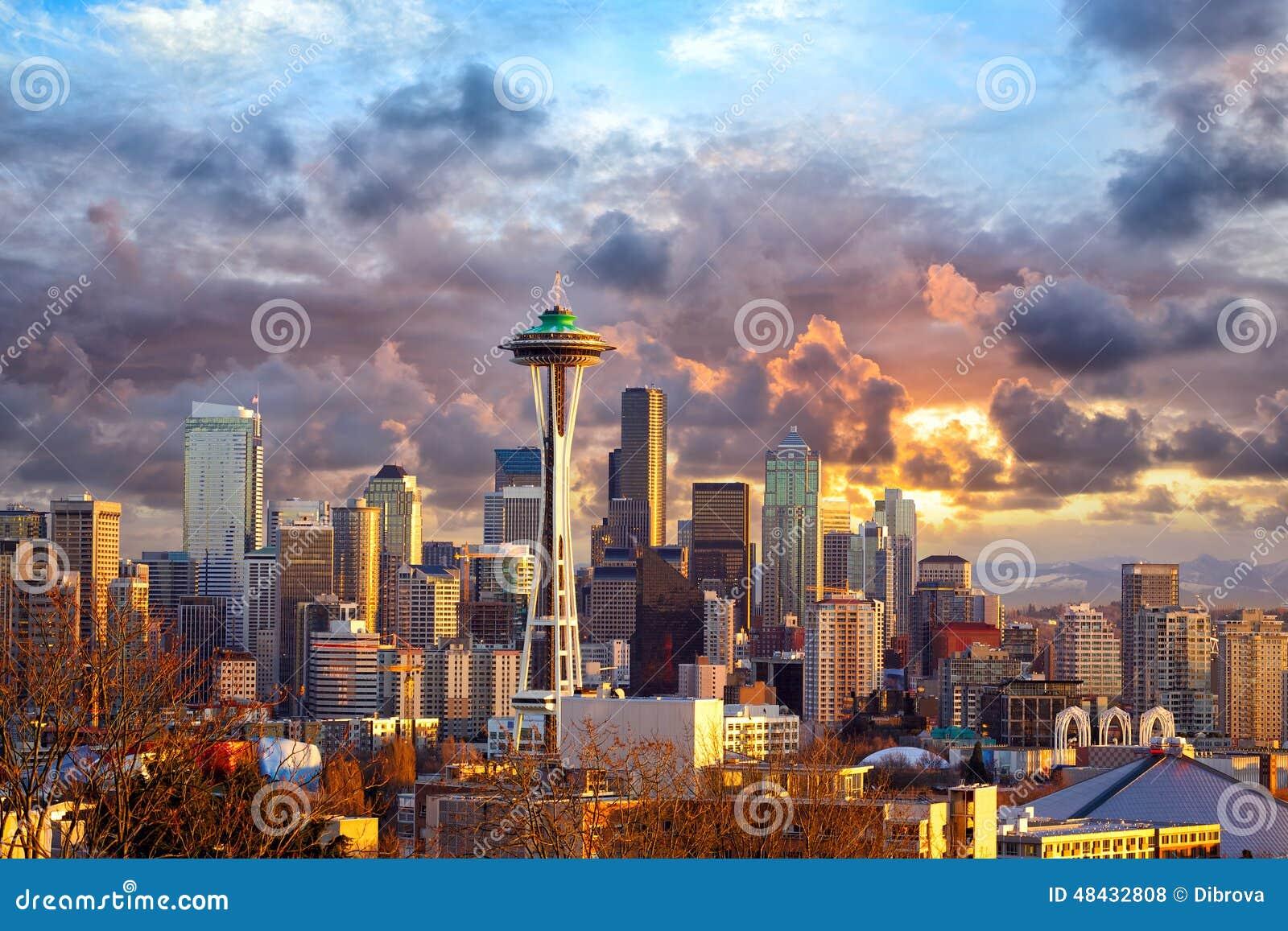 Seattle no por do sol