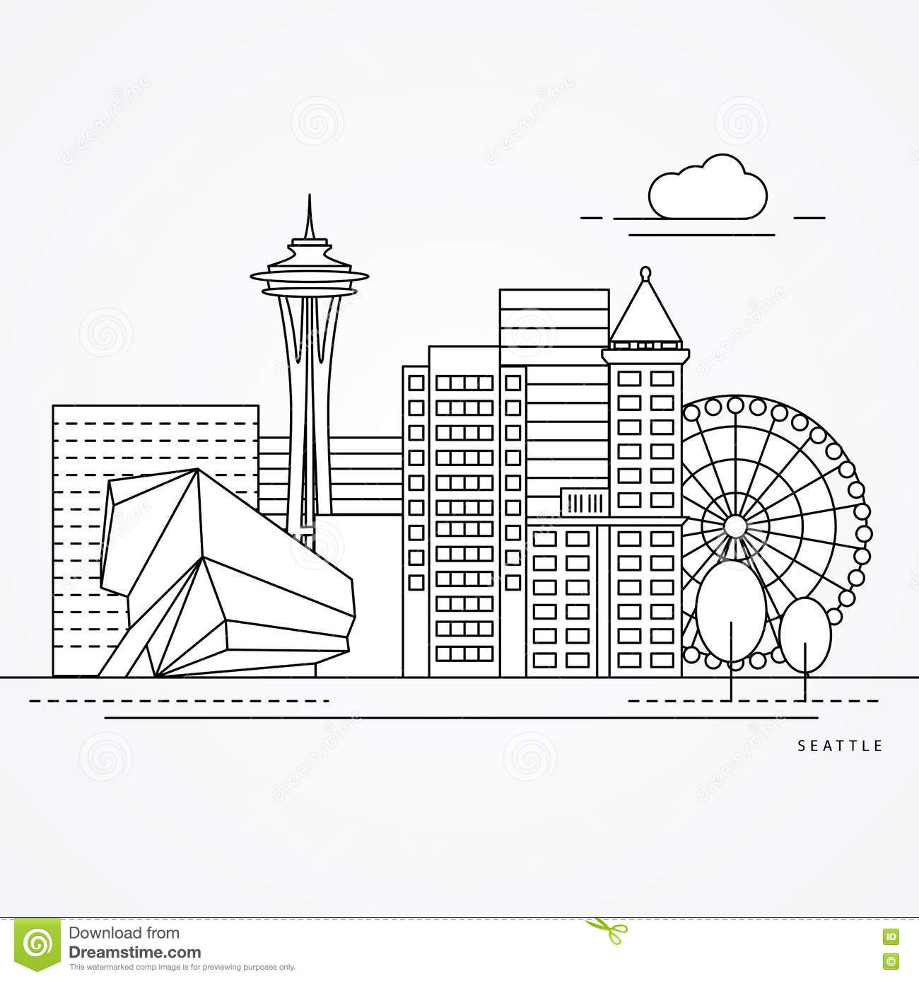 One Line Design : Seattle one line design stock vector illustration of