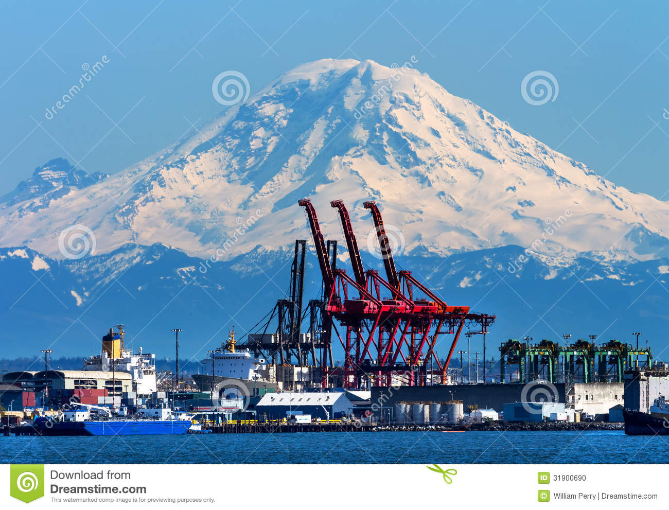 Seattle Port with Red Cranes Ships and Mt Rainier in the Background ...