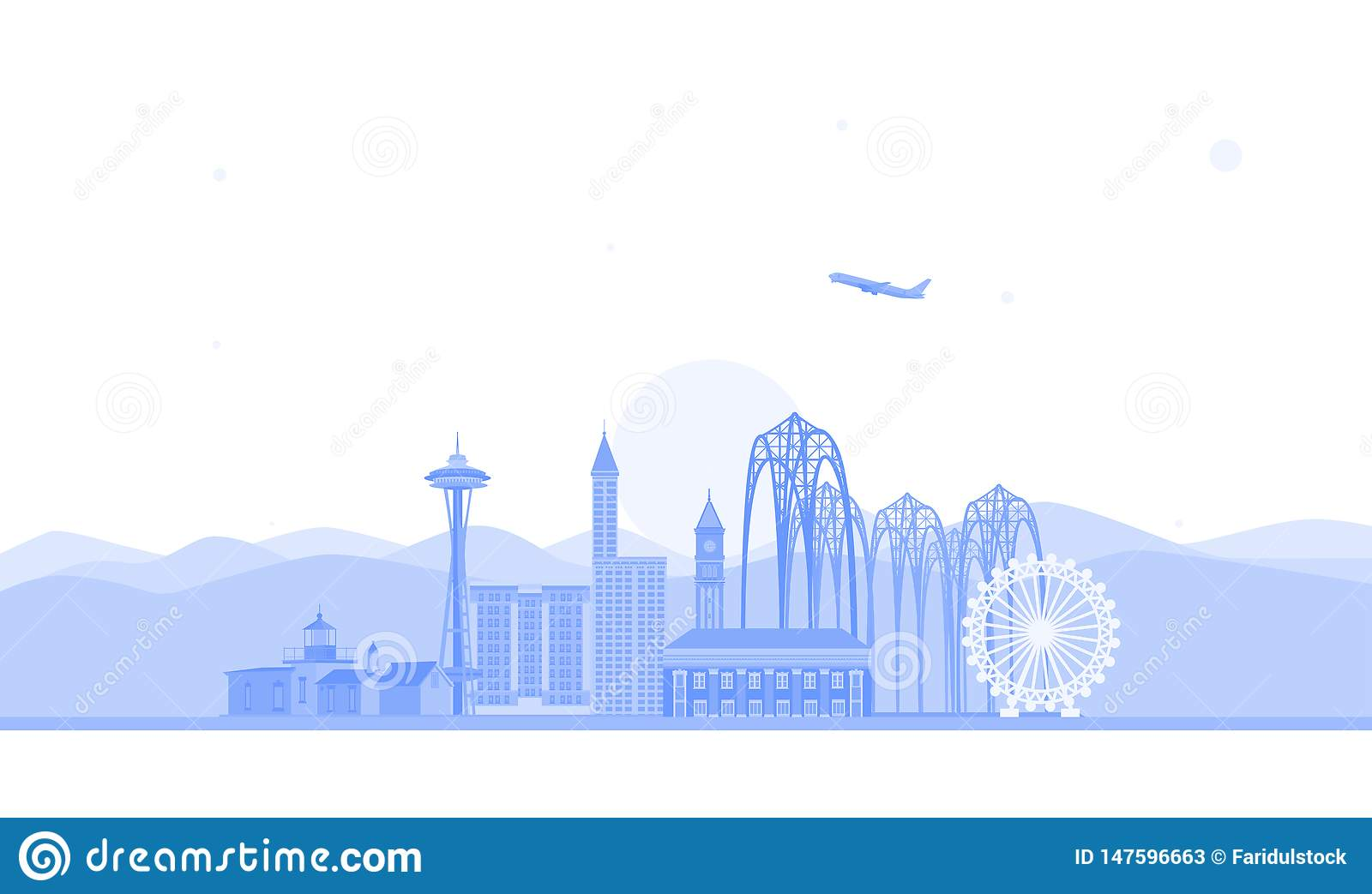 Seattle skyline illustration. Flat vector illustration. Business travel and tourism concept with modern buildings. Image for banne