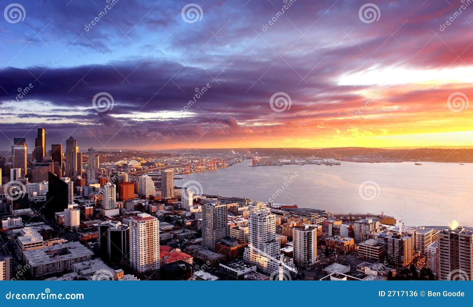 Seattle solnedgång
