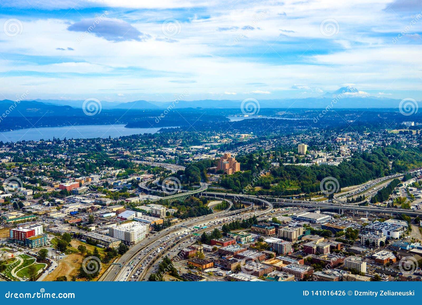 Seattle, USA, am 31. August 2018: Ansicht von im Stadtzentrum gelegenem Seattle