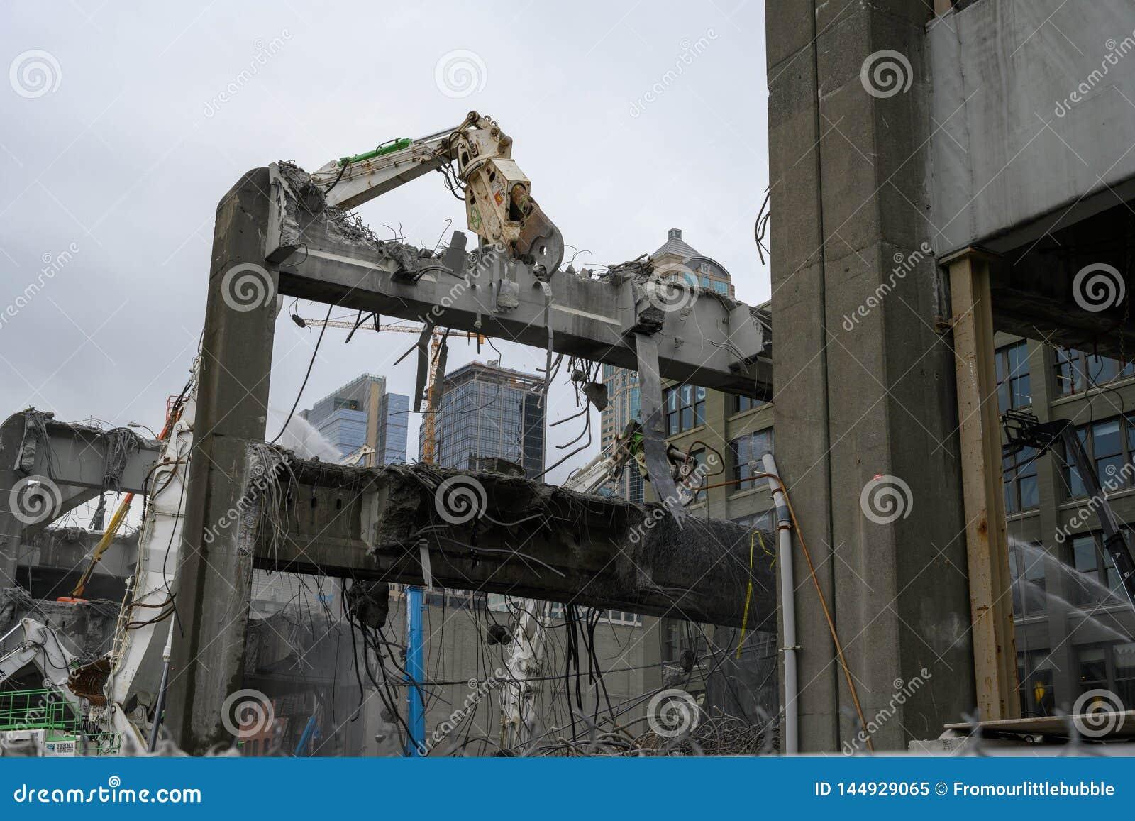 Seattle Viaduct demolition Alaskan & Yesler