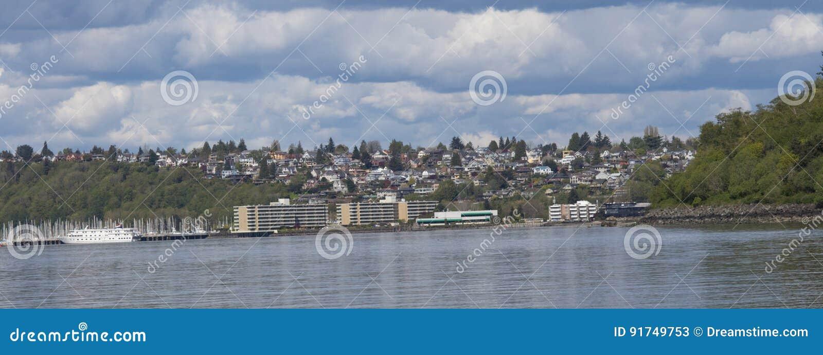 Seattle-vista no parque da descoberta