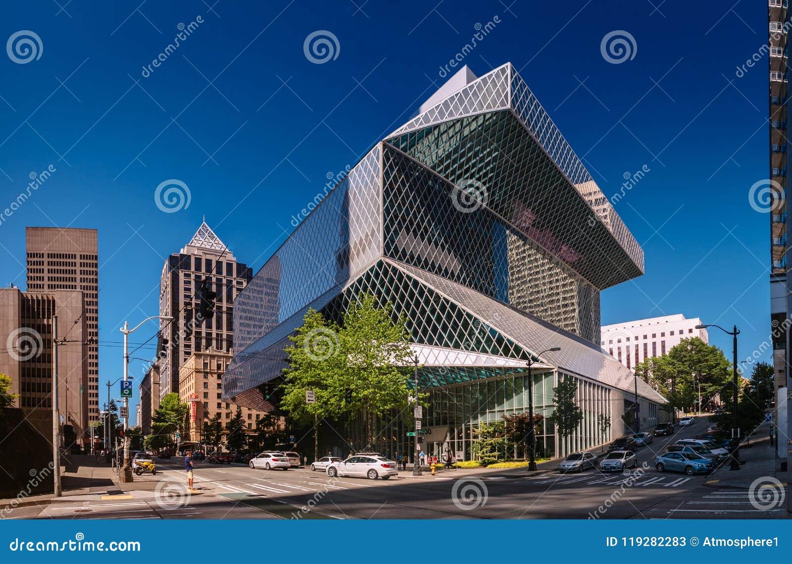 Seattle, Washington, de V.S. - 5 Augustus, 2017: Openbare Bibliotheek in Seattle