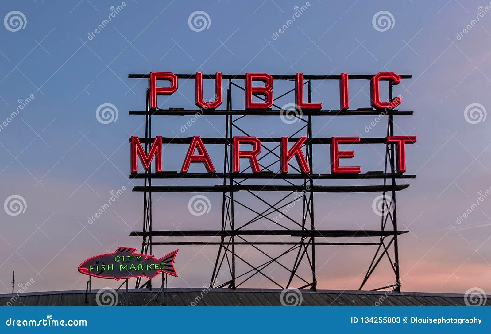 Seattle Washington Public Market och tecken för fiskmarknad