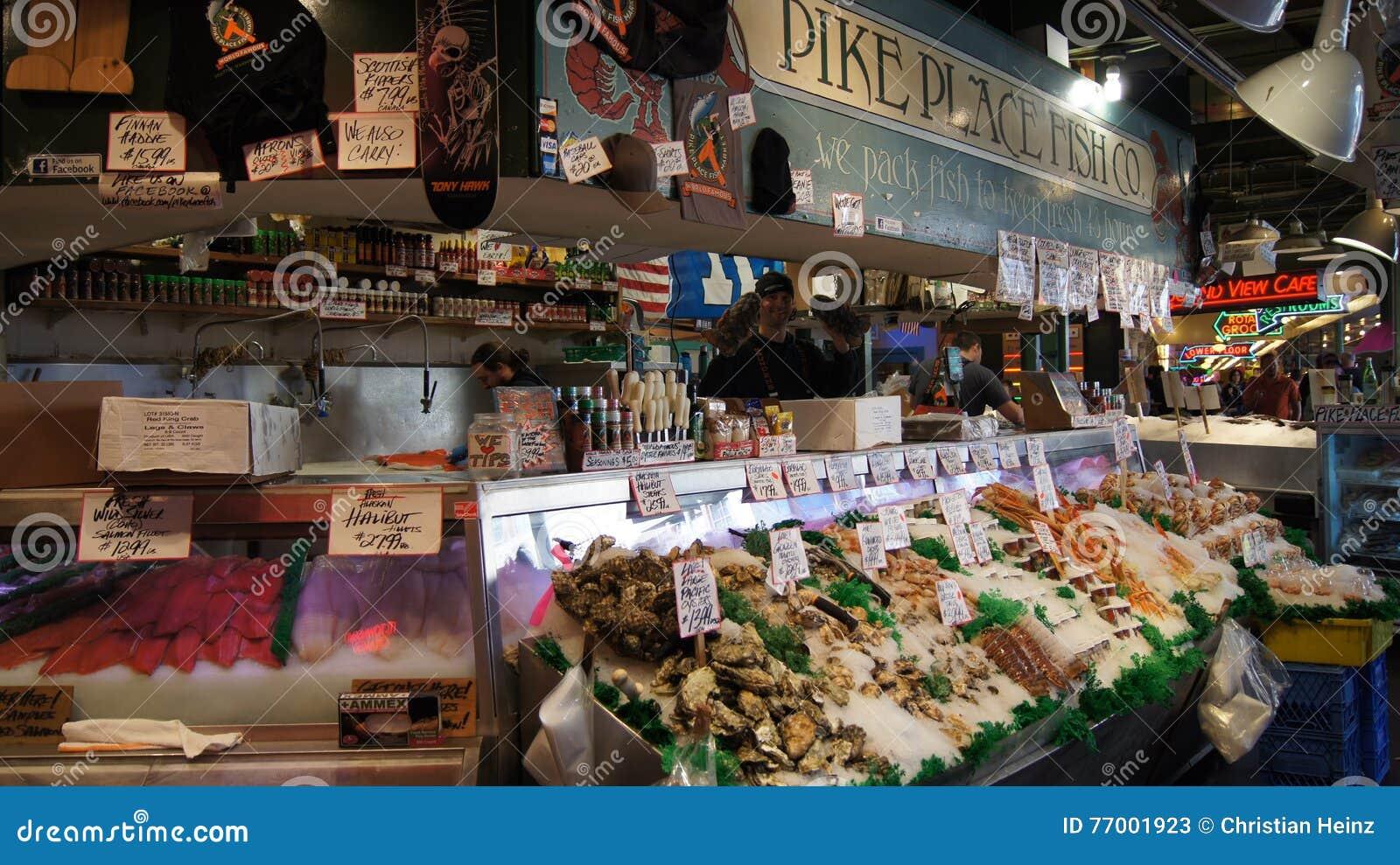 SEATTLE WASHINGTON USA - Oktober 2014 - neue Meeresfrüchteanzeige am Pike-Platz-allgemeinen Markt
