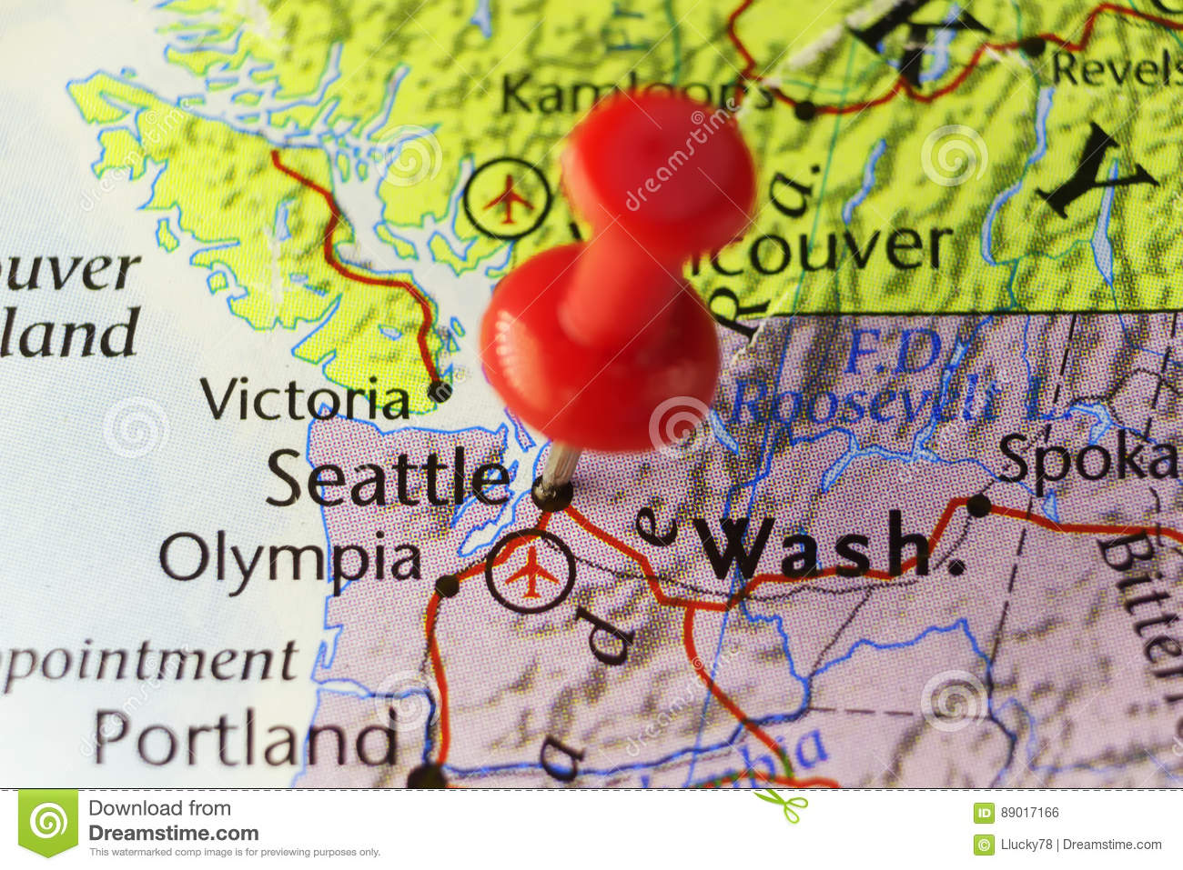 Seattle Washington Usa Pinned Map Stock Illustration Illustration