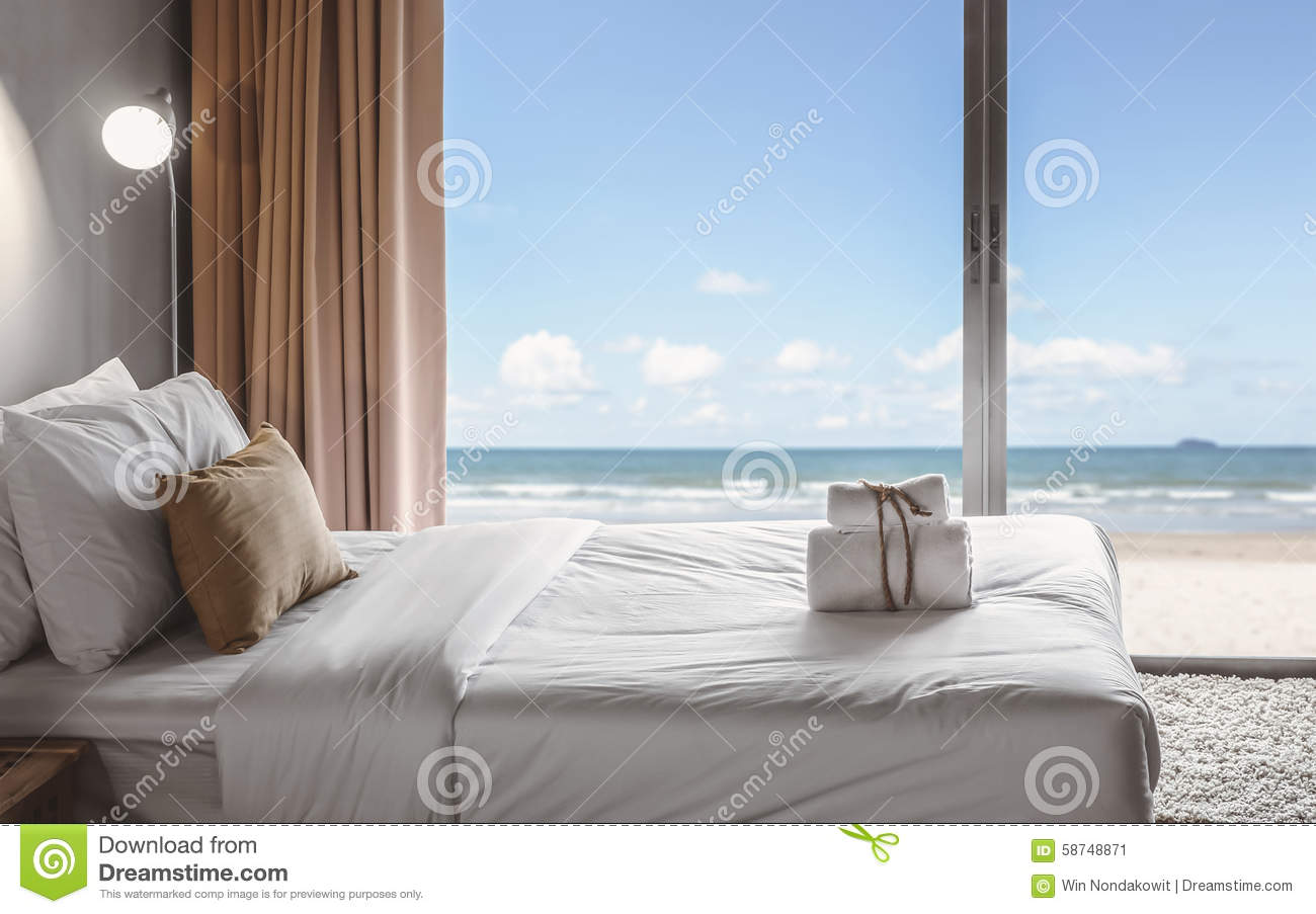seaview bedroom stock image image of towel modern decoration 58748871. Black Bedroom Furniture Sets. Home Design Ideas
