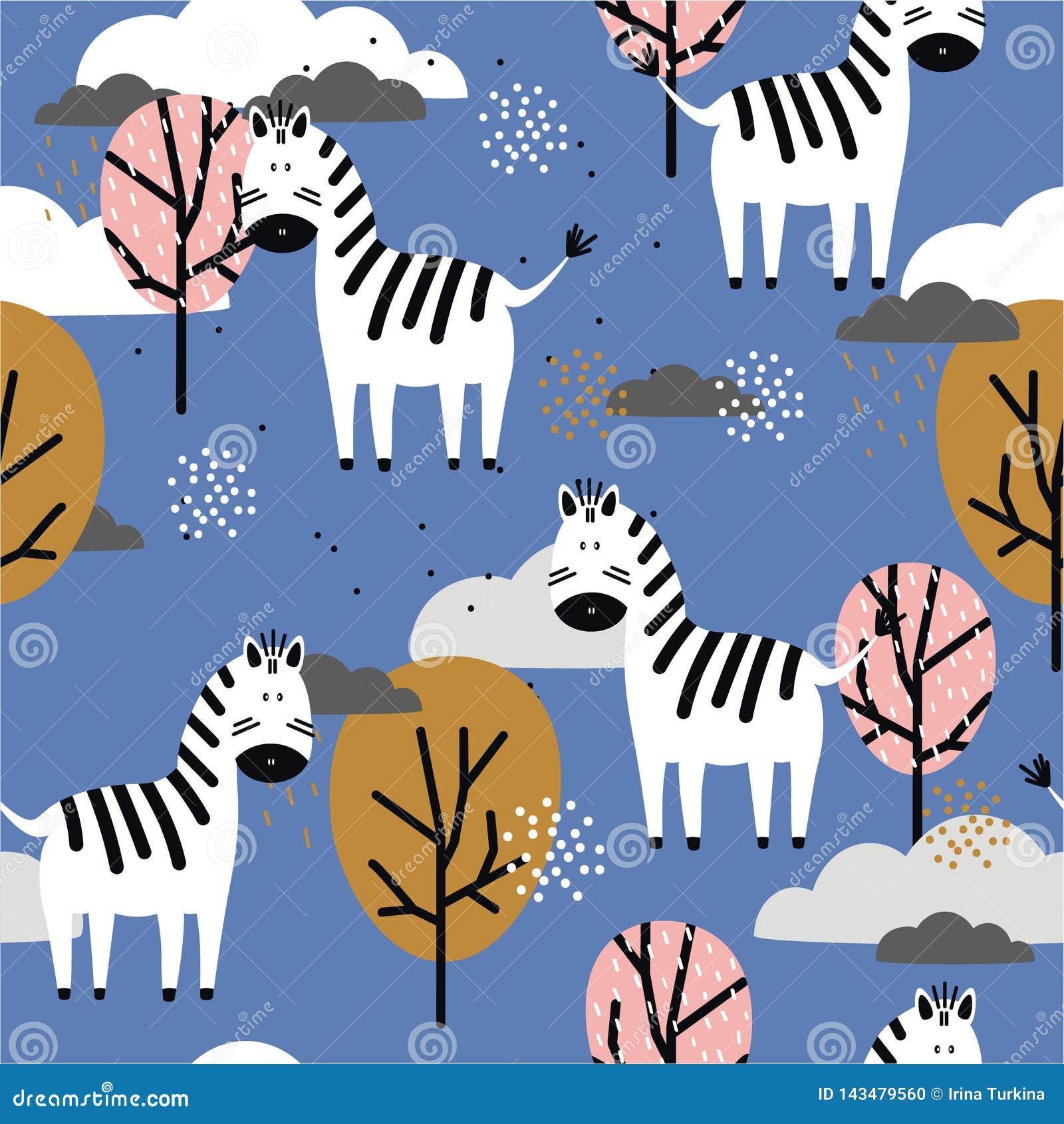 Sebror och träd, färgrik sömlös modell Dekorativ gullig bakgrund med djur
