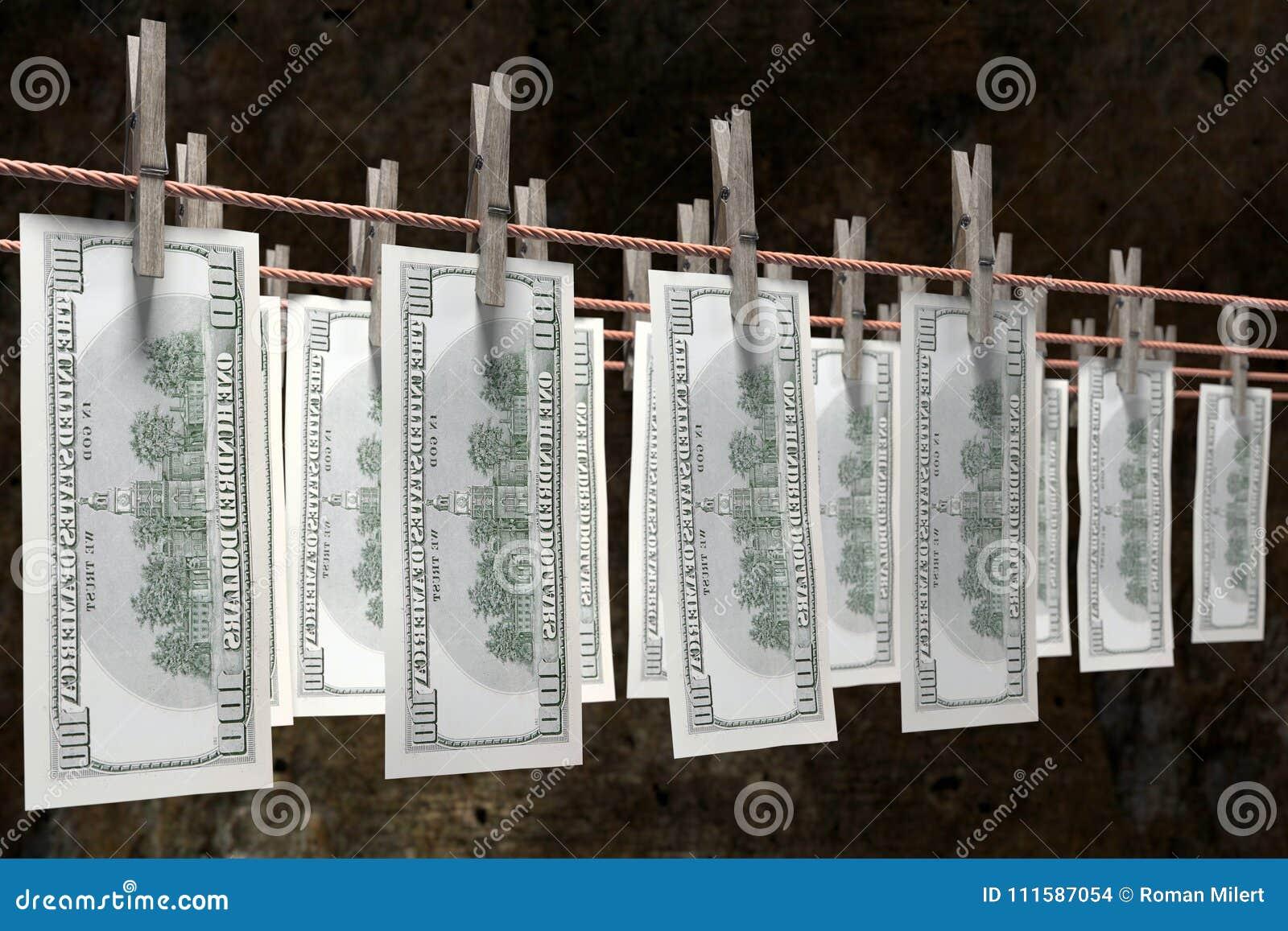 Secagem do dinheiro da lavanderia