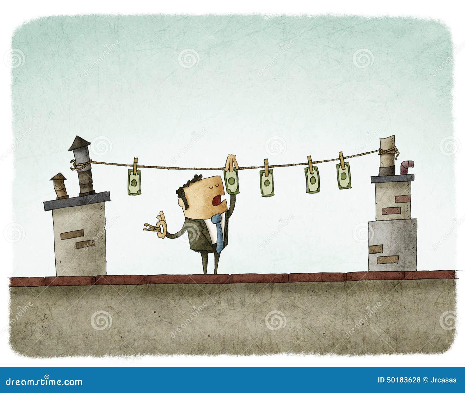 Secagem do dinheiro no telhado