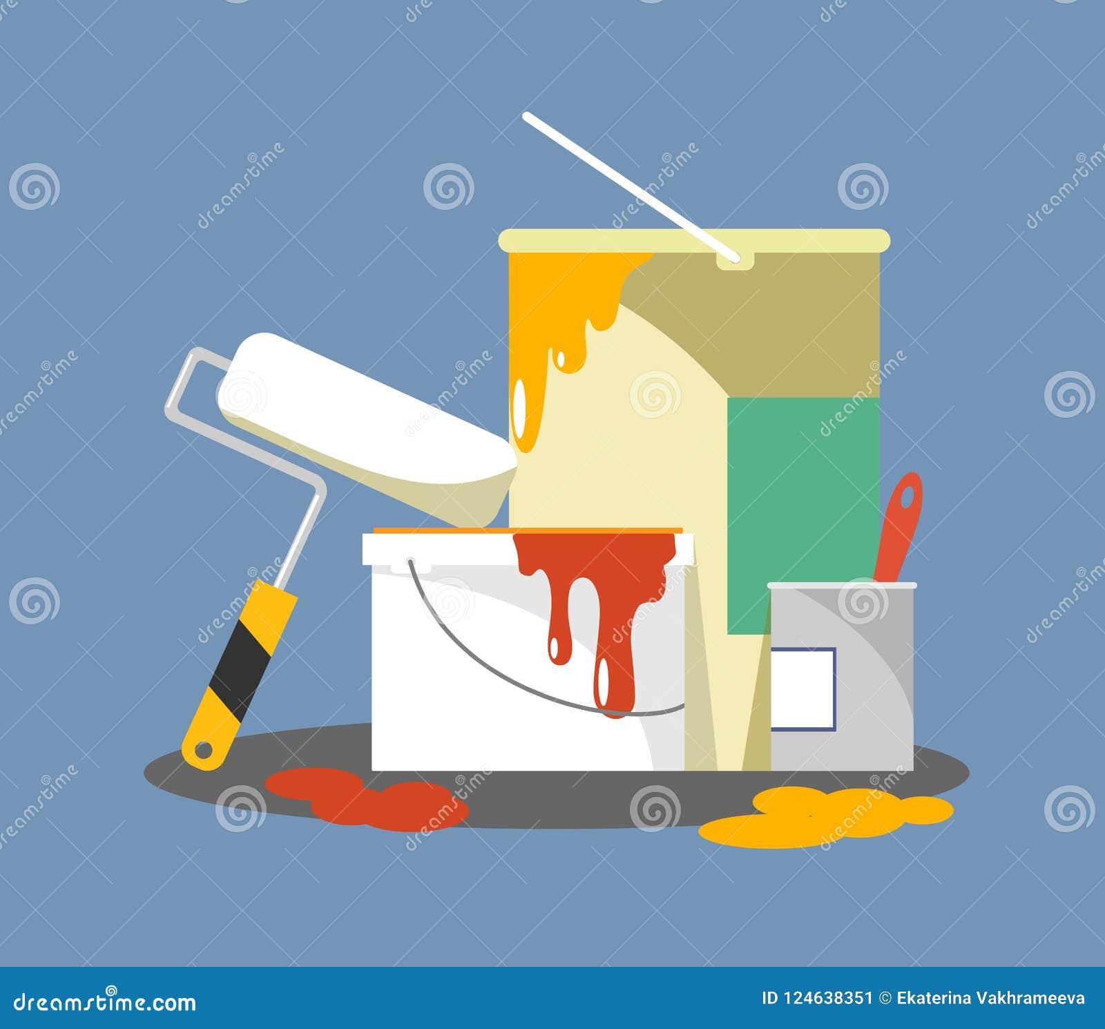 Secchi con le pitture ed il rullo per la riparazione e la pittura