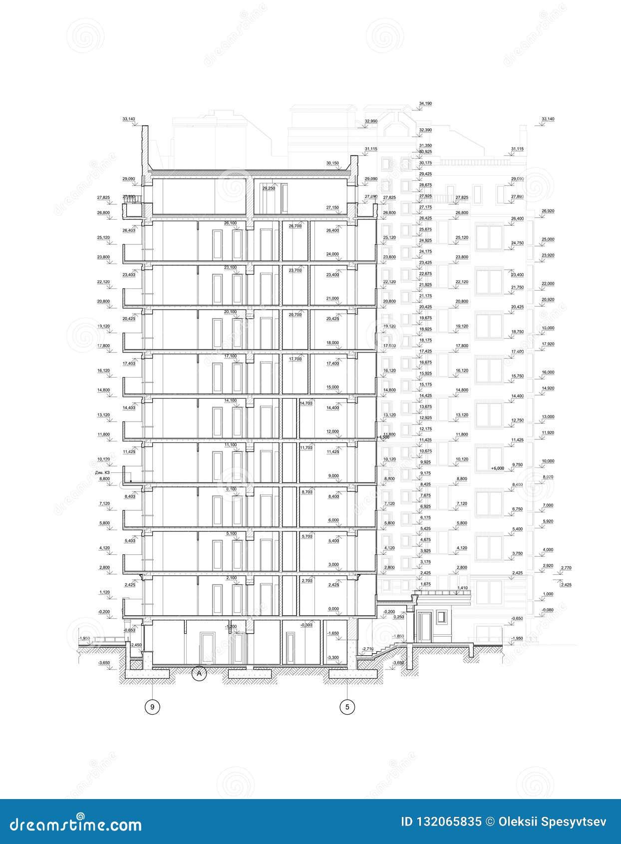Sección constructiva de varios pisos, dibujo técnico arquitectónico detallado, modelo del vector