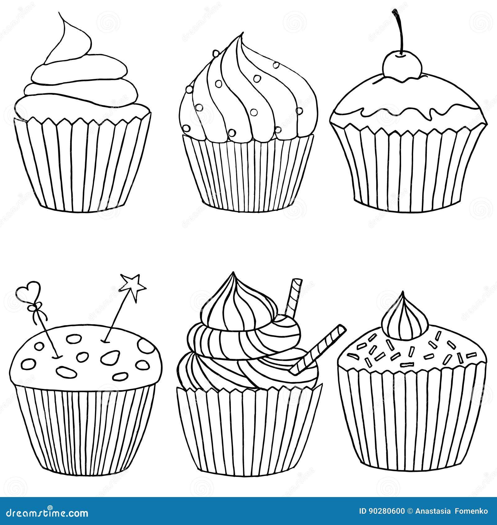 Sechs Bilder Von Kleinen Kuchen In Schwarzweiss Eigenhandig
